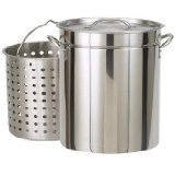 Bayou Classic 1122 122-Quart Stainless Steel Stockpot with Boil Basket